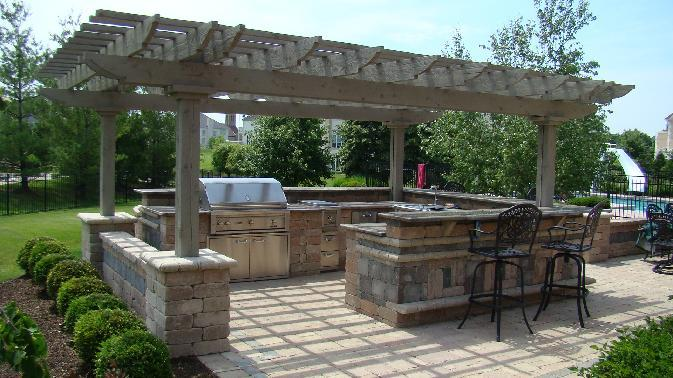 Cedar Outdoor Kitchen Pergola