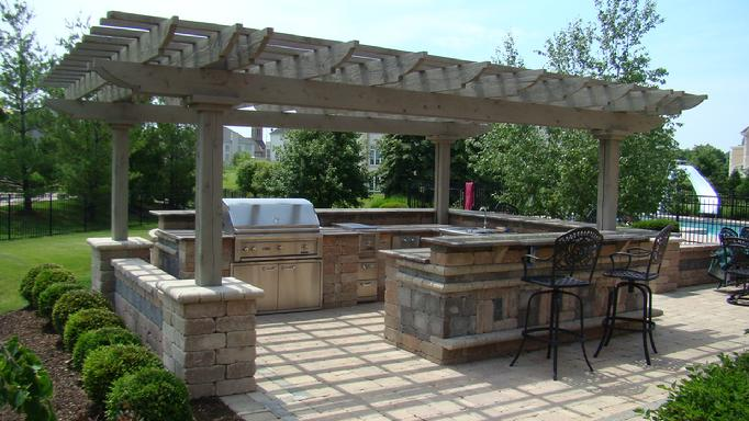 Cedar pergola for Outdoor kitchen roof structures