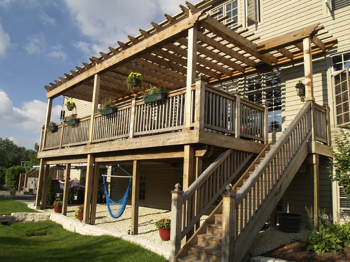 Pergola arbor two story western red cedar pergolas for Two story deck design pictures